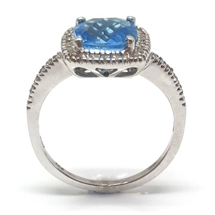 Luxuria square shape. cushion cut blue topaz diamond white gold engagement rings