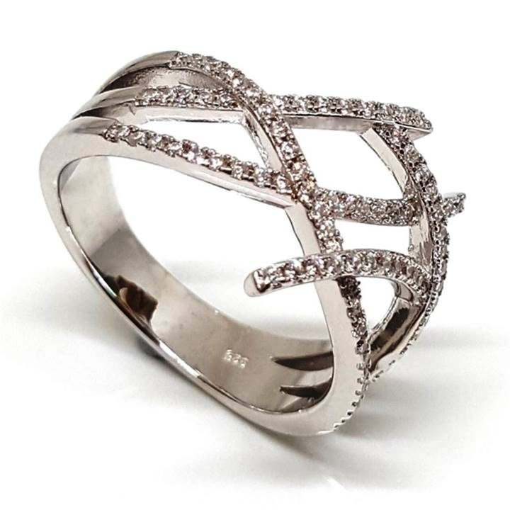 Luxuria unique airy modernist engagement ring. White diamond simulants set in silver