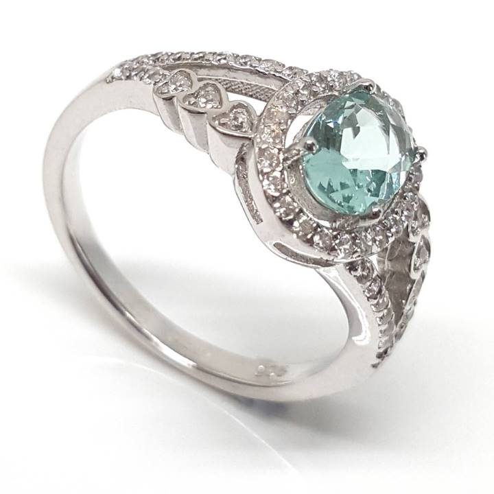 Luxuria watery sky blue topaz color split shank dress ring