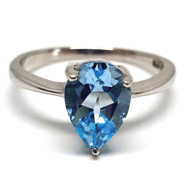 Luxuria. Solitaire sky blue topaz proposal or dress ring