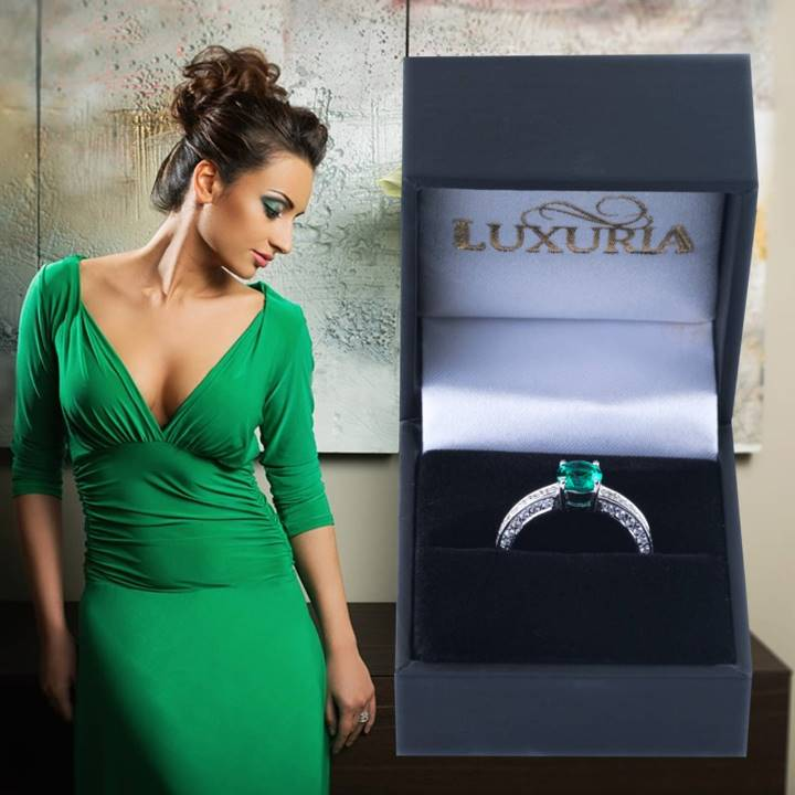 Faux diamond rings from Luxuria. synthetic emerald silver engagement ring