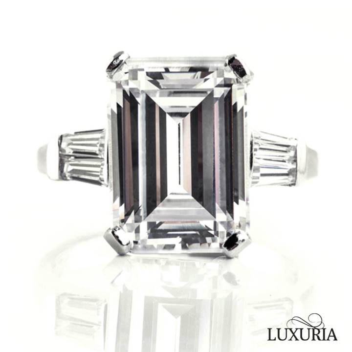 Luxuria cubic zircon ring Large emerald cut faux diamond ring for wide fingers