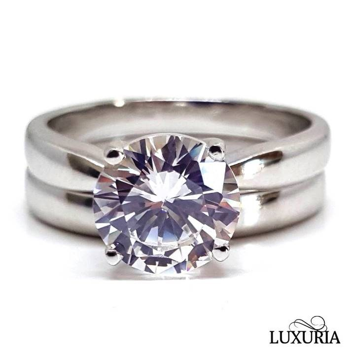 Luxuria cubic zircon ring, Solitaire engagement ring plus matching wedding band set in silver