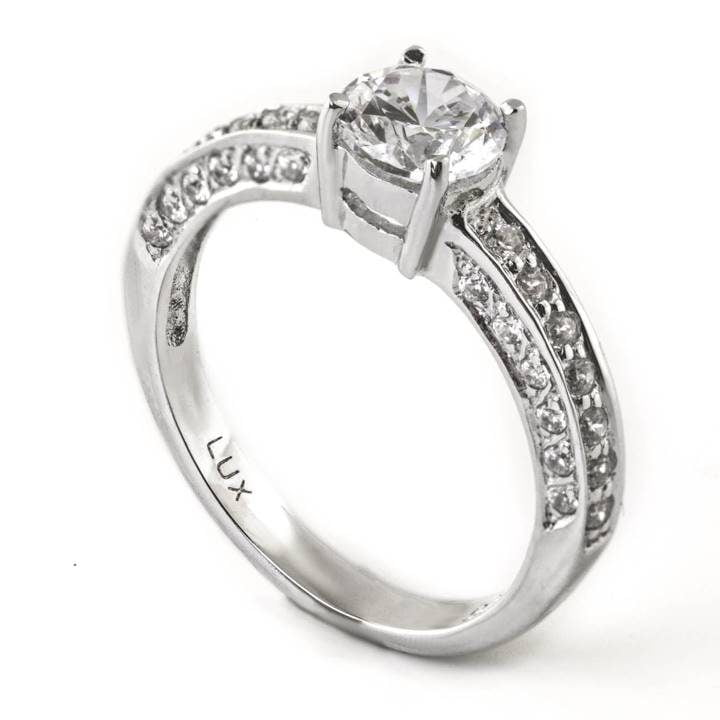 Luxuria engagement ring cz 0.84 carat central stone. Perfect for small hands. LUX hallmark