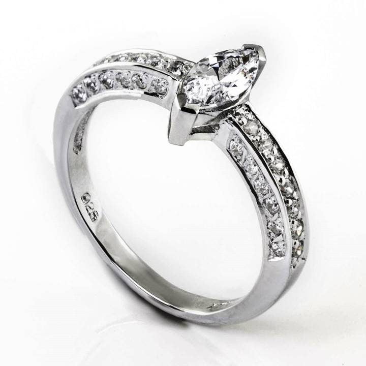 Luxuria engagement ring cz, glamorous Marquise cut diamond simulant with round cut shoulders