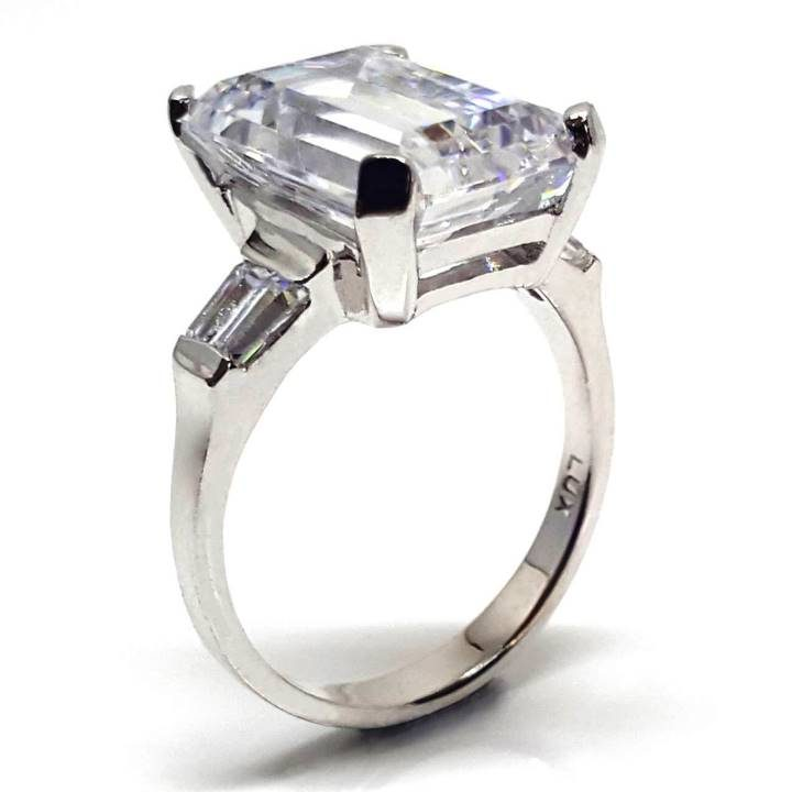 Luxuria engagement ring cz, large 8.88 carat t.w. emerald cut for the red carpet or cocktail evening