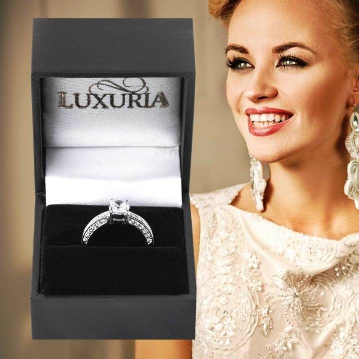 Luxuria fake diamond rings LUX hallmark in deluxe leatherette gift box