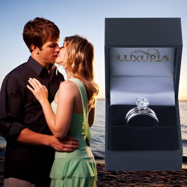 Luxuria fake diamond rings, star cut solitaire set in deluxe leatherette gift box