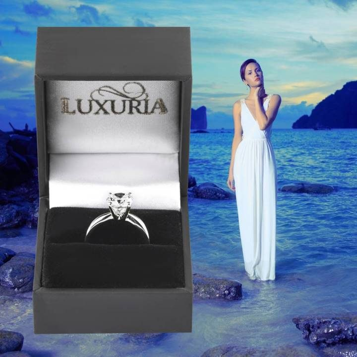 Luxuria fake diamond rings sterling silver in deluxe leatherette gift box
