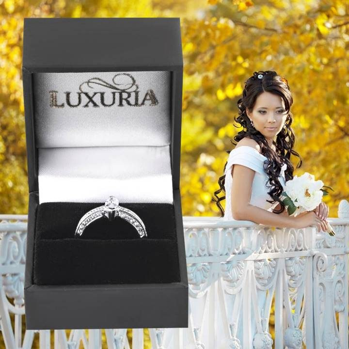 Luxuria fake diamond rings very high quality faux engagement rings in deluxe leatherette gift box