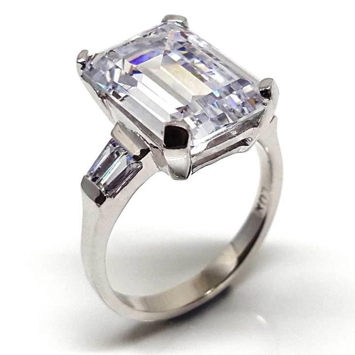 Luxuria jewelry brand, LUXR176 VIENNA large diamond simulant ring, LUX hallmark