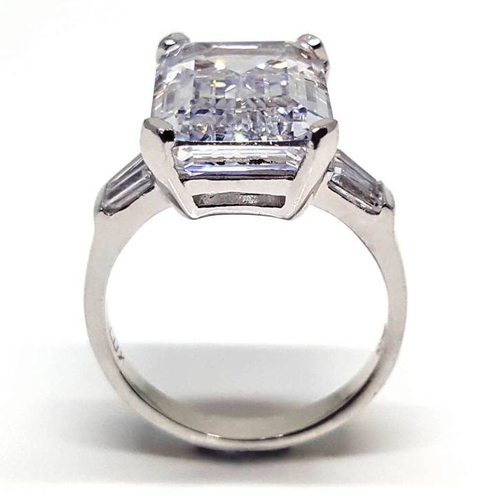 Luxuria large cubic zirconia engagement ring designed for us girls with wider fingers. Emerald cut