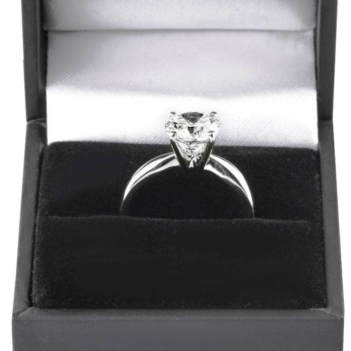 Luxuria sterling silver engagement rings, LUX hallmark round cut solitaire