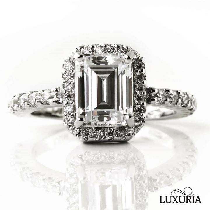 Luxuria cubic zircon ring Realistic faux emerald cut halo engagement ring