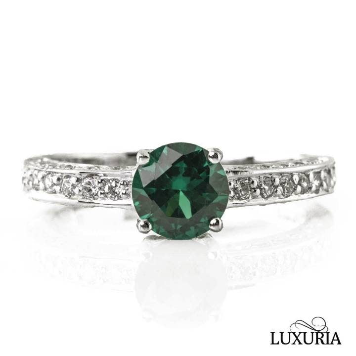 Luxuria cubic zircon ring synthetic emerald engagement ring diamond shoulders