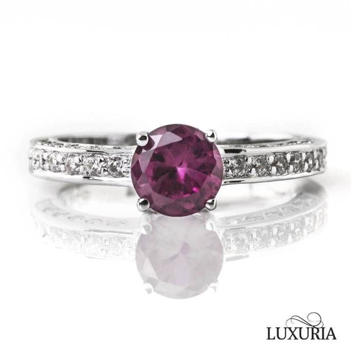 Luxuria cubic zircon ring synthetic round ruby engagement ring diamond shoulders