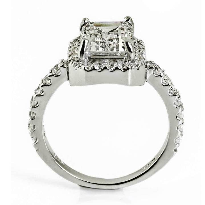 Luxuria cubic zirconia engagement ring emerald cut white diamond simulant