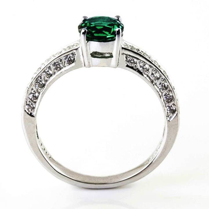 Luxuria cubic zirconia engagement ring green emerald gemstone & white diamond simulant
