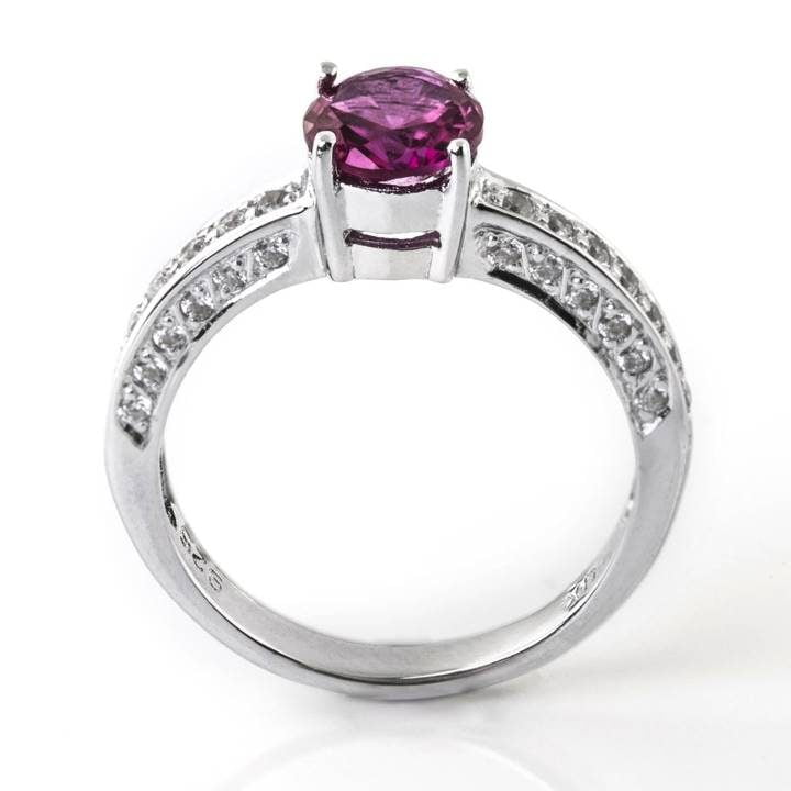 Luxuria cubic zirconia engagement ring, ruby with white diamond simulant