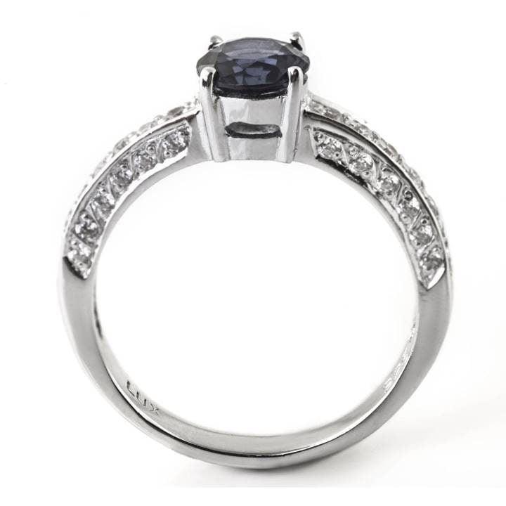 Luxuria cubic zirconia engagement ring, sapphire & white diamond simulant