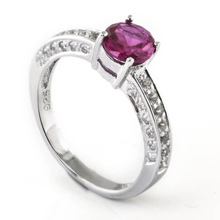 Luxuria engagement ring cz, round cut solitaire synthetic ruby stone