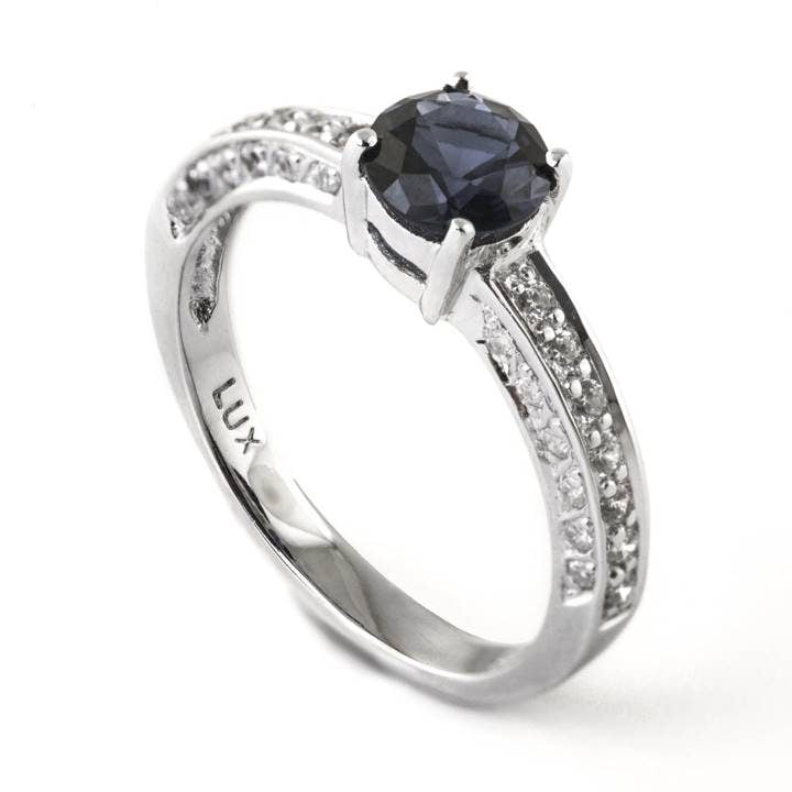Luxuria engagement ring cz & round cut synthetic sapphire gemstone