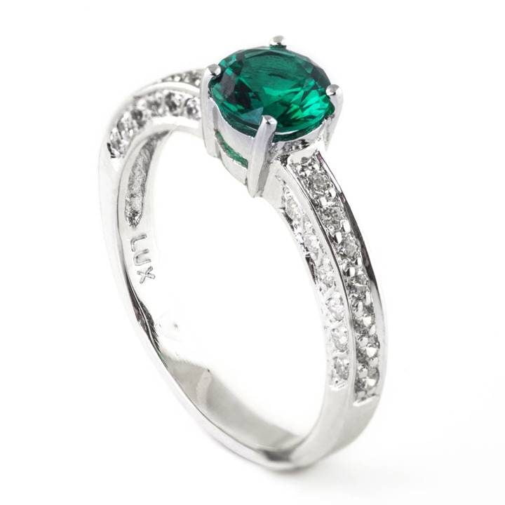 Luxuria engagement ring cz with round cut solitaire synthetic green emerald stone