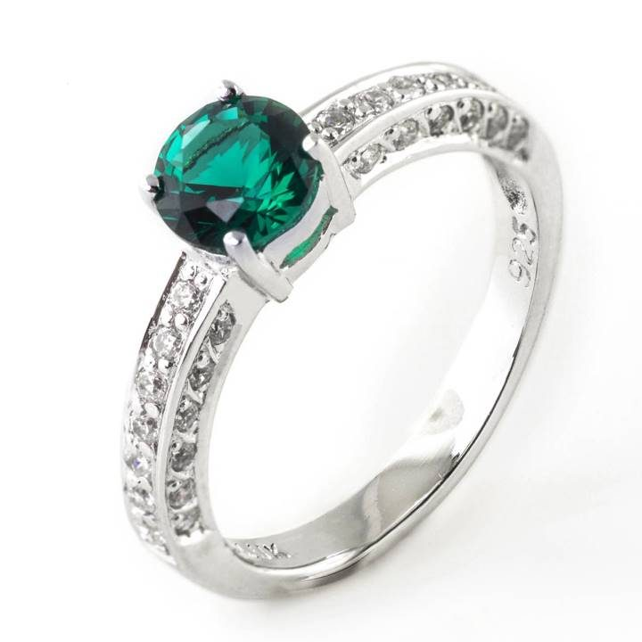 Luxuria jewelry brand, LUXR171 EMERARUDO green emerald & diamond simulant ring
