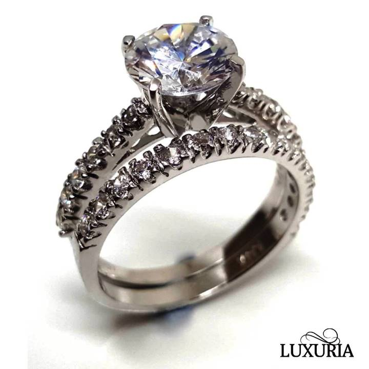 Simulated Diamond Ring, round cut solitaire most popular, Luxuria brand