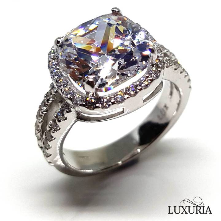 Sterling silver engagement ring from Luxuria Cushion cut