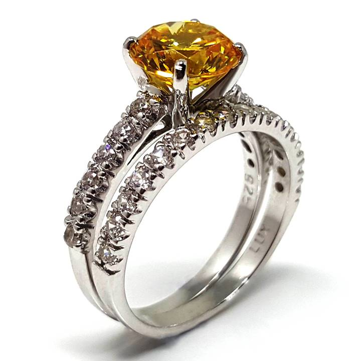 Colored diamond rings - Luxuria canary fancy vivid simulant