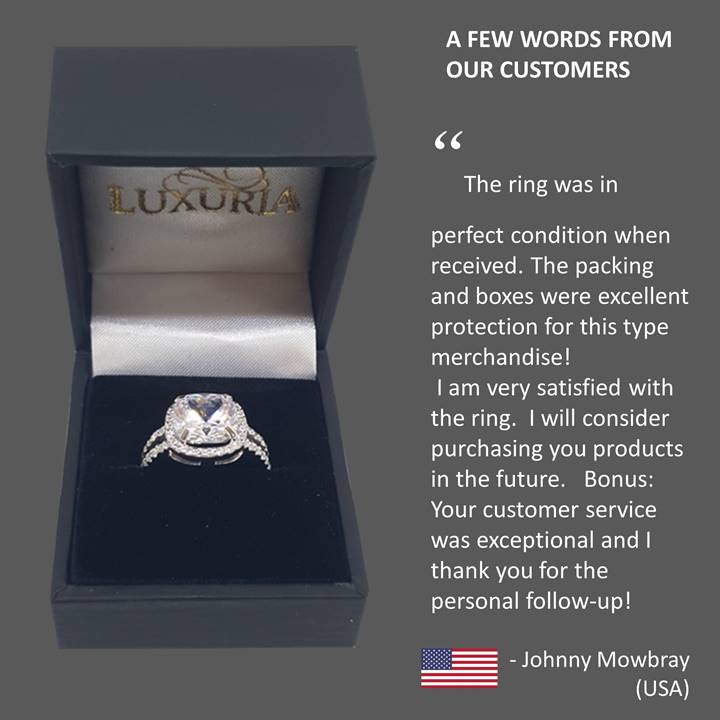 Fake engagement rings - Luxuria customer reference