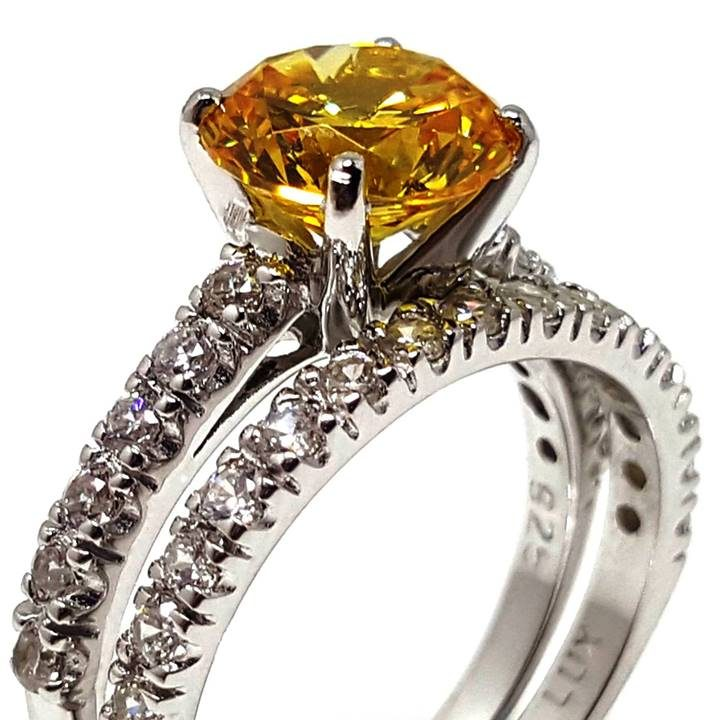 Luxuria Canary Diamond Engagement Rings - 2 carat solitaire sim stone