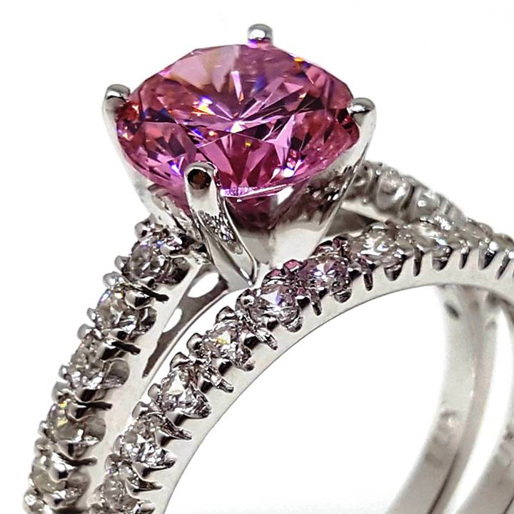 Luxuria Pink Diamond Simulant Engagement Rings