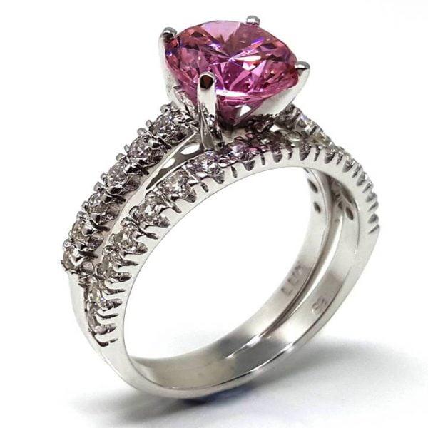 Luxuria Pink Diamond Simulant Rings - fancy vivid color