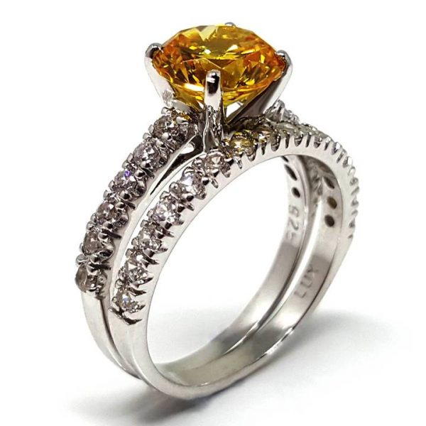 Luxuria Yellow Diamond Simulant Rings - fancy vivid colour