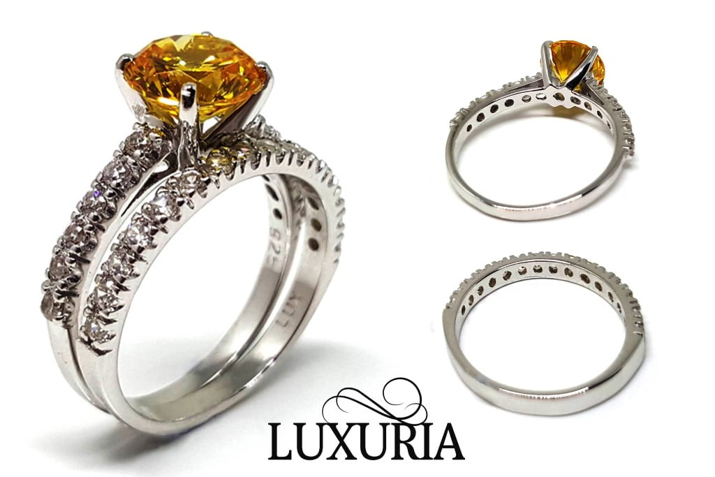 Diamond simulant engagement ring from Luxuria Diamonds LUXR155