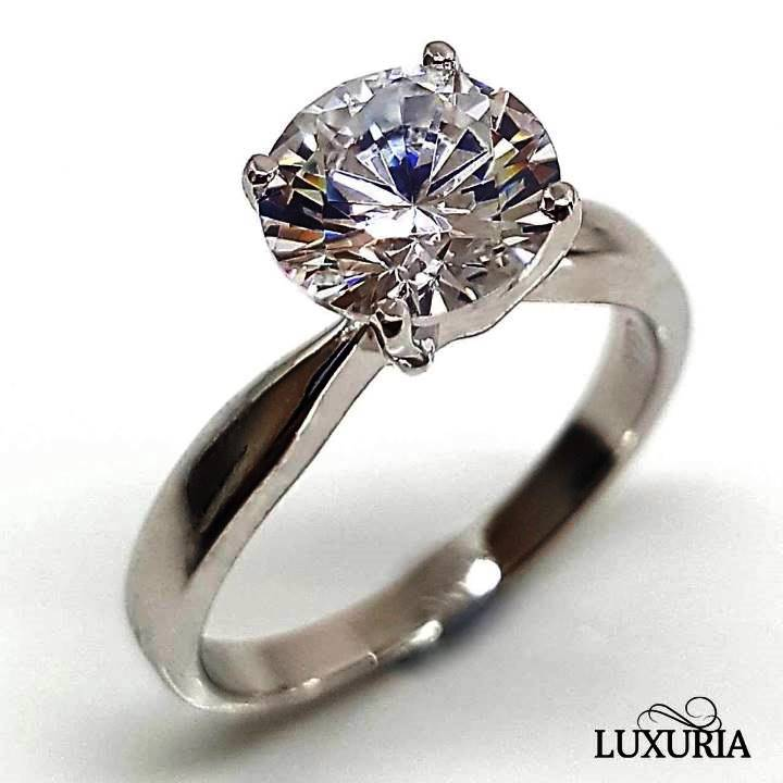 Fake solitaire diamond engagement ring from Luxuria