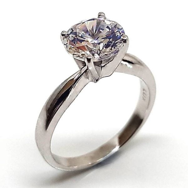 Fake solitaire diamond ring from Luxuria Diamonds brand