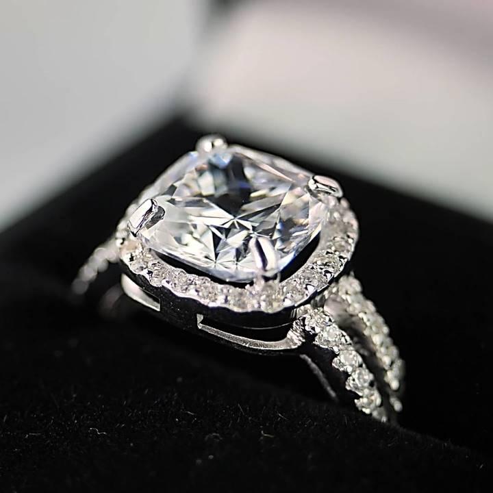4 ct carat cushion cut fake engagement ring Luxuria