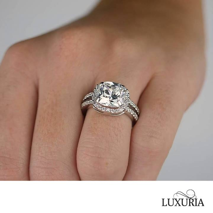 Cushion cut sterling silver engagement ring Luxuria