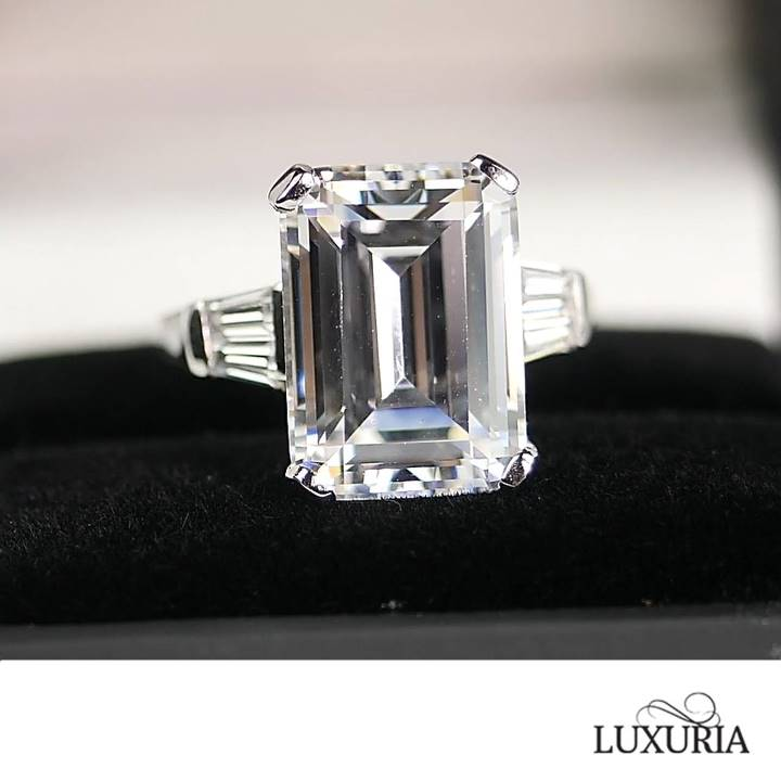 Emerald cut sterling silver engagement ring Luxuria