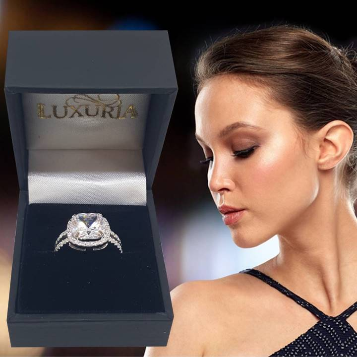 Fake engagement rings that look real Luxuria jewelry brand in ring box