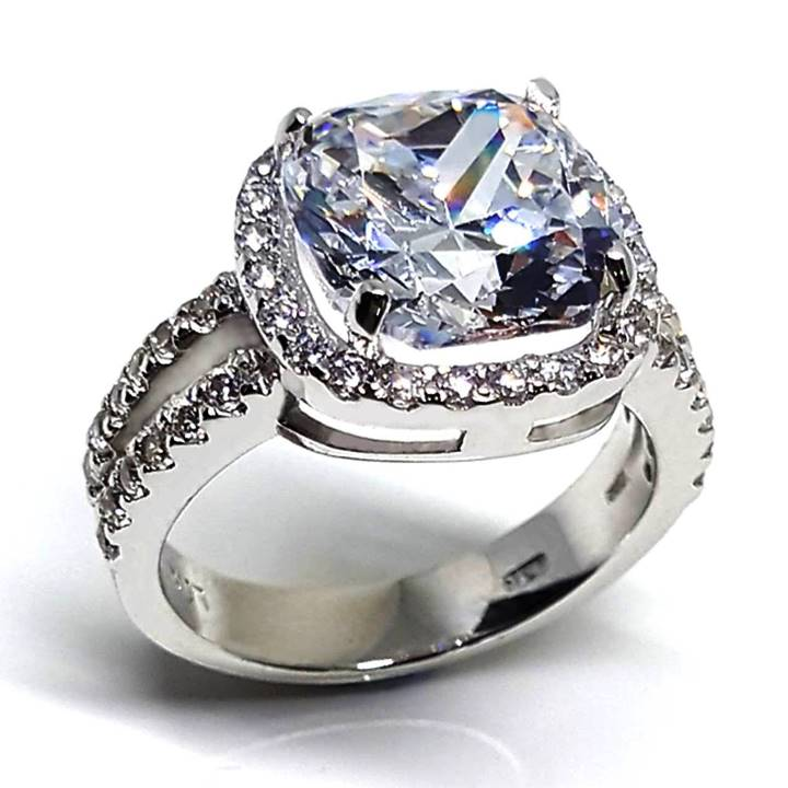 Large fake diamond rings with halo Luxuria