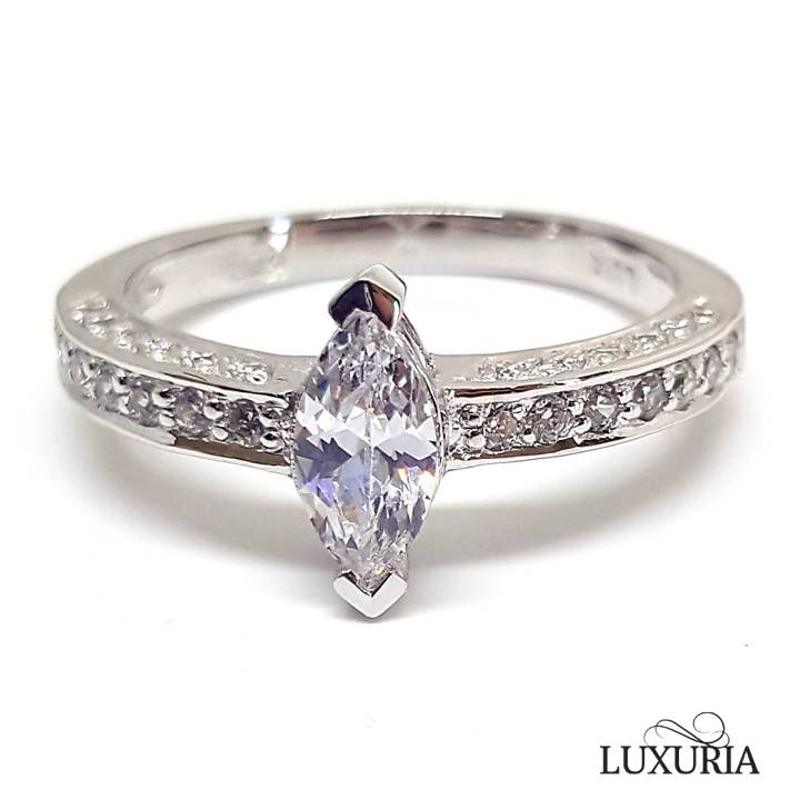Marquise cut sterling silver engagement ring Luxuria