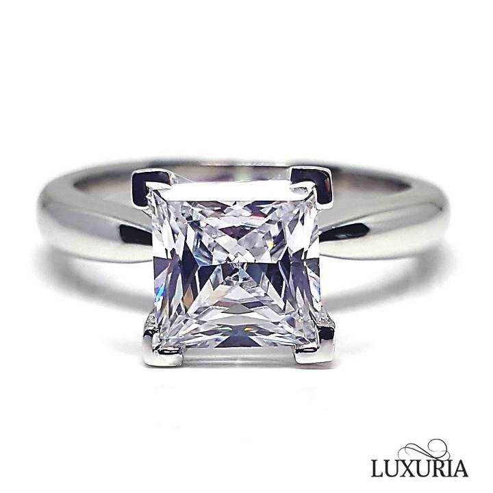 2 carat ct Princess cut solitaire engagement rings – Luxuria Diamonds