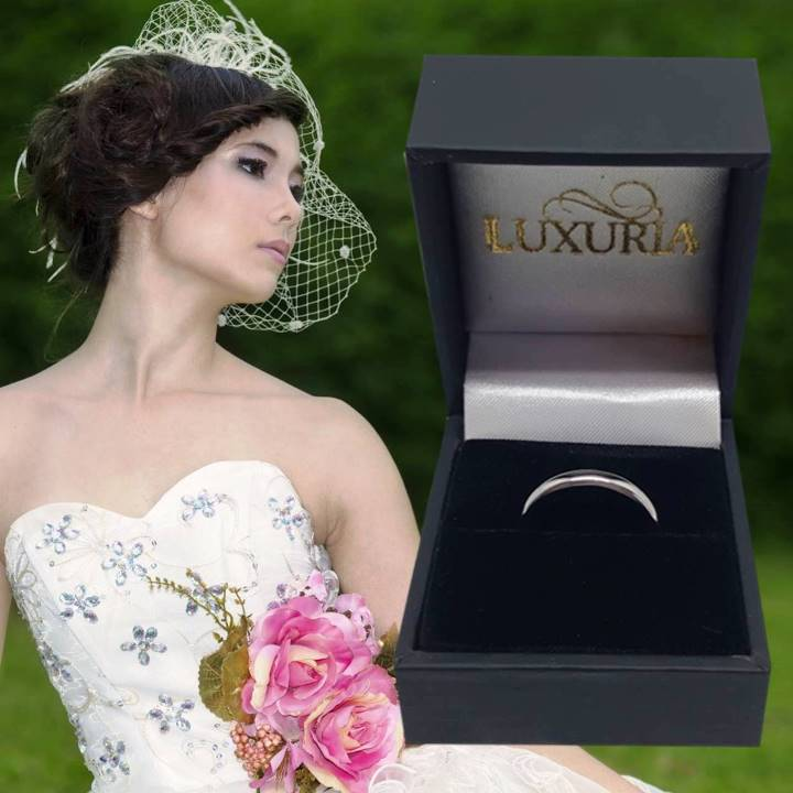 3mm wide silver wedding band with gift ring box USA