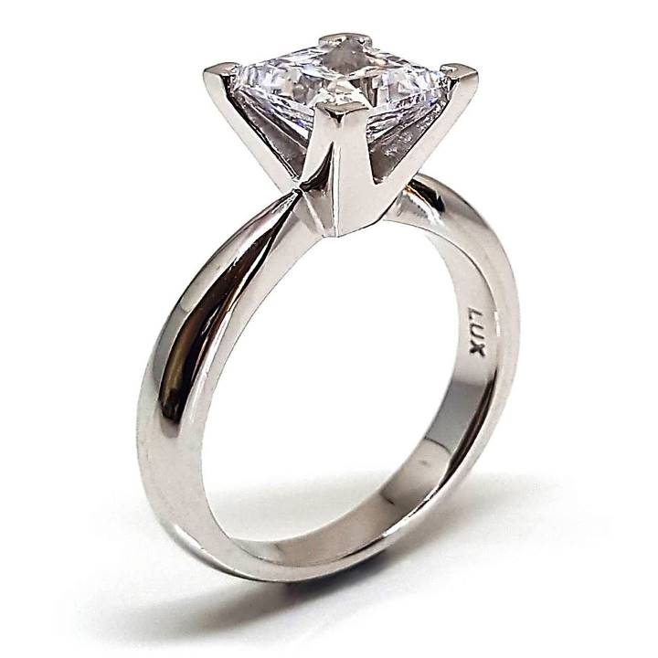 Princess cut diamond simulant ring Luxuria Jewellery