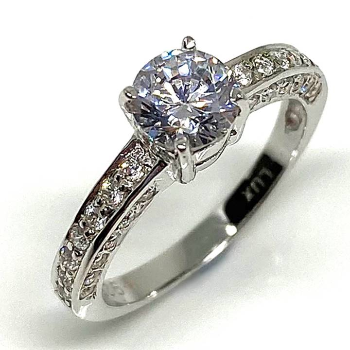 3 sided pave diamond simulant engagement ring LUXURIA DIAMONDS