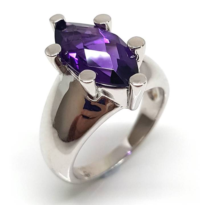Amethyst rings 6 prong setting solitaire marquise shape purple amethyst gemstone LUXURIA